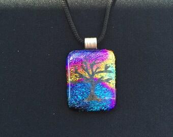 Tree of Life Multicolored Fused Glass Pendant