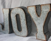 """METAL JOY LETTERS Sign Holiday Rustic Christmas Decor Mantle Galvanized Zinc Industrial Rust Vintage Style Words Custom Words 7"""" Signage"""
