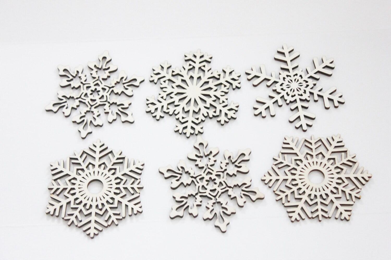 set of 6 snowflake wood cutouts filigree style lasercut diy