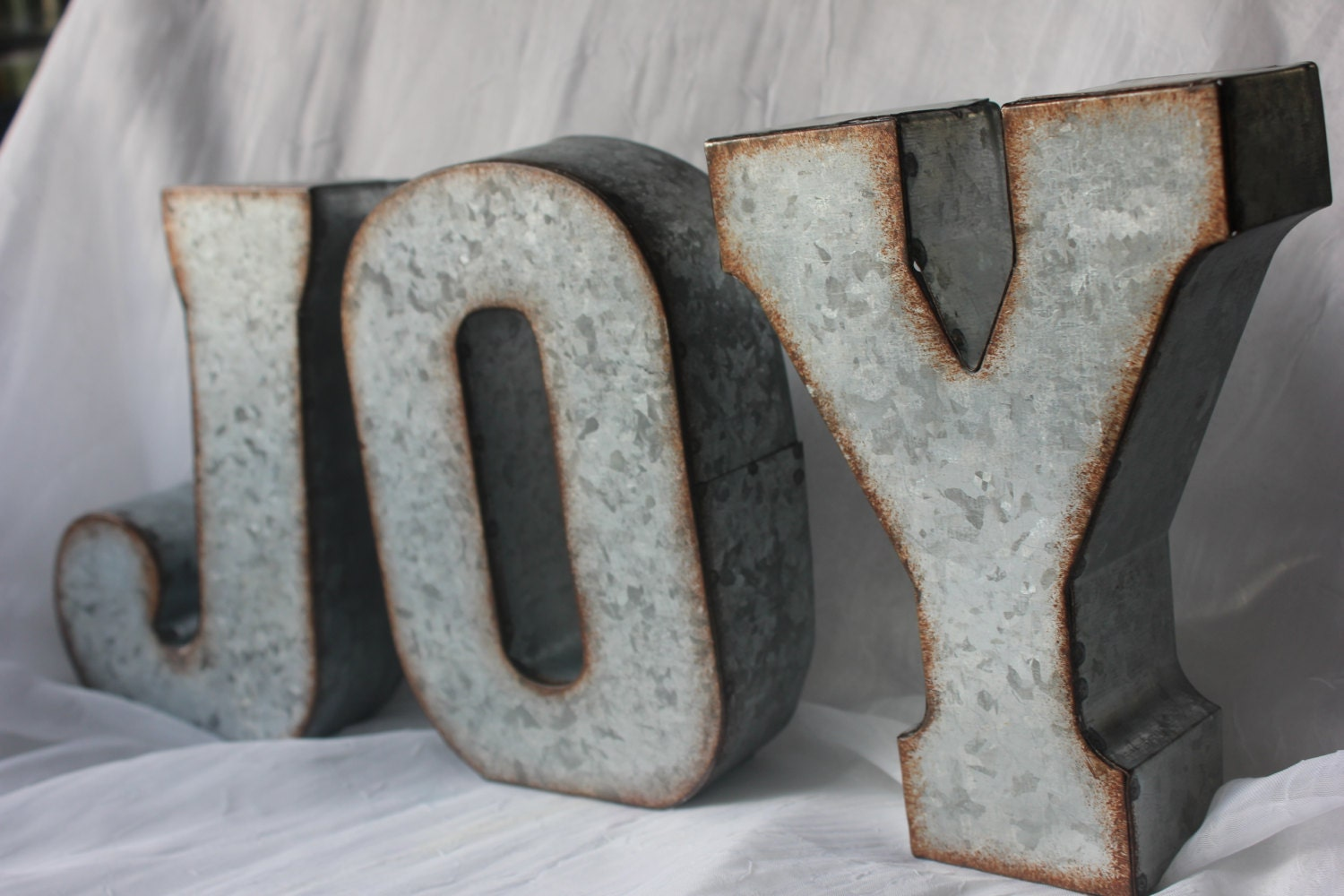 Metal joy letters sign holiday rustic christmas decor mantle
