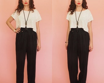 90s Pants // Pin Stripe Pants // High Waist Pants // Pleated Pants // Tapered Pants //Black Pants // Vintage
