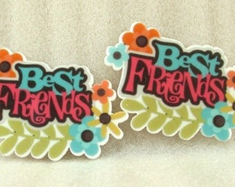 Best Friends Planar Resin Flat back, Resin Flat back, Best Friends Resin, Best friends bows, Hair bows, Bows, Headbands, Bow Center