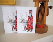 "Christmas Card Pair of 5""x7"" Christmas cards featuring Father Christmas and Reindeer"