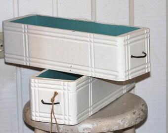 shabby chic handpainted sewing machine drawer