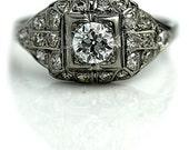 Antique Engagement Ring .89ctw Art Deco Diamond Ring Platinum Engagement Ring 1920s Ring Vintage Estate Engagement Ring Size 6.5!