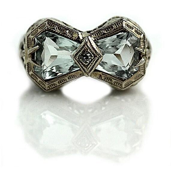 deco aquamarine ring unique engagement ring by