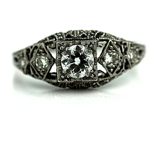 Antique Engagement Ring .51ctw 1930s Art Deco Ring Platinum