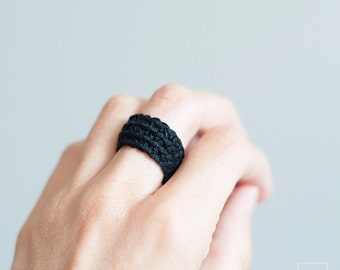Casual ring, corochet wrap ring, landyarn, textil jewelry, Non-allergenic jewelry, Lightweight and adaptable to the finger,  crochet Jewelry