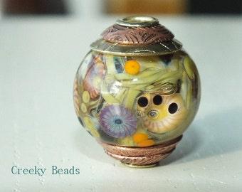 "Handmade Lampwork Bead - Brass caps and core - ""Owl!"" Creeky Beads SRA"