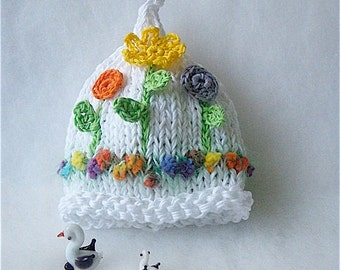 Baby Girl Flower hat, Newborn hat, Baby flower hat, Photo prop, Knit baby hat, Crochet Infants, Cotton girl hat, Cotton newborn hat, Spring