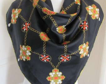 "Beautiful Black Gold Soft Silk Ladies Scarf // 29"" Inch 73cm Square"