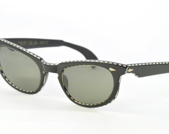 "American Optical Vintage Sunglasses, Black with White Details, 'True Color"" Gray Lenses, Ready to Wear, 1950s, 1960"