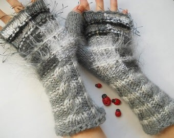 HAND KNITTED GLOVES / Women Accessories Fingerless Mittens Elegant Warm Wrist Warmers / Crochet Winter Arm Romantic Cabled Gift Feminine 784