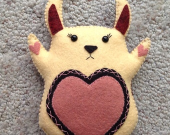 Stuffed Bunny Rabbit Yellow Plushie Spring Colors Felted Stuffed Animal Plush Eco Friendly Toy