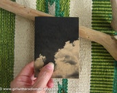 Cloud Notebook Black and White Art Print - Mini Pocket Travelers' Journal - Nature Series - Trees, Sky, Wood, Dandelion