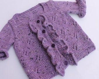 Hand Knit Tweed Baby Girl Cardigan. Knit Purple Baby Girl Cardigan. Ruffled Baby Cardigan. Merino Alpaca Baby Cardigan. 6-12 months