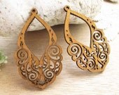 WP27 / #12 sand  / Wood Lace Pairs for Earring / Laser Cut Lace Wooden Charm /Pendant /Filigree Wood Charm/Eardrop/Dangle