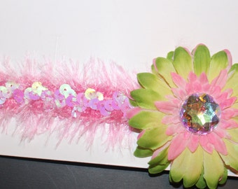 Pink and Lime Green Flower Sequin Headband