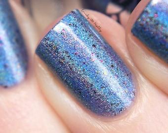 "Nail polish - ""Hybrid Theory"" light blue holo polish with flakies"