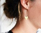 FOX earrings // geometric raw brass hook earrings // hand stamped jewelry