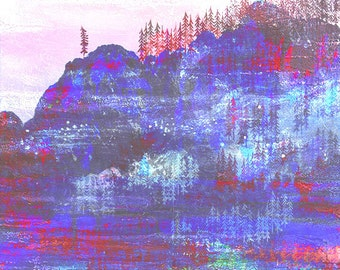 PINE art print // colorful forest and mountain // illustration // purple wall decoration