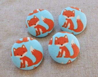 Fabric Covered Buttons (L) - Summer Color Orange Baby Fox Animal On Sky Blue (4Pcs, 1.1 Inch)