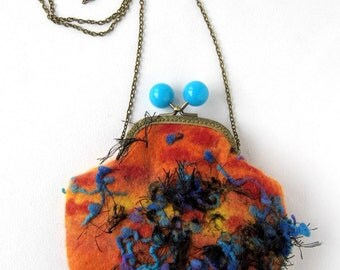 Wet Felted Sunset  coin purse bag frame metal closure Handmade Ready to Ship with ift for her