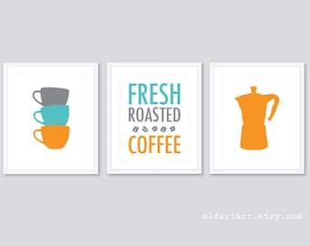 Coffee Art Prints - Coffee Wall Art - Kitchen Art Prints - Teacups Print - Coffee Maker Print - Fresh Roasted Coffee Print - Aldari Art