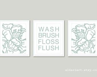 Bathroom Prints Bathroom Artwork Bathroom Wall Art Prints Bathroom Decor Flower Prints Bathroom Rules Set of 3