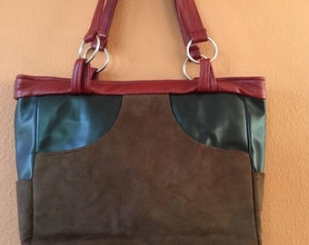 Bea #01 Faux Leather and Ultra Suede Purse, Handbag, Handbags, Purse, Purses, Shoulder Bag, Shoulder Bags, Bag, Bags, Totes, Tote