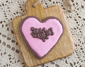 Fake Heart Sugar Cookie, Chocolate with Pink Icing