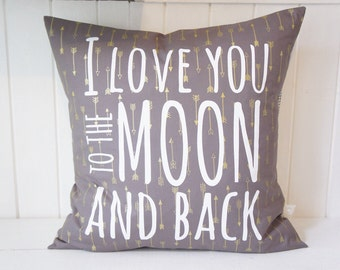 I love you to the moon and back Pillow Cover, 20x20, gold arrows
