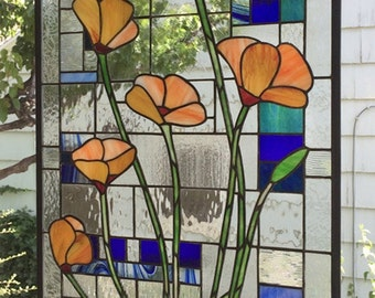 """California Poppies over Geometric---18.75"""" x 36.5""""--Stained Glass window Panel"""