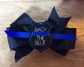 Back the blue hairbow, police badge hairbow, police hairbow, support police, girls hairbow, badge hairclip , hair accessories, hair supply