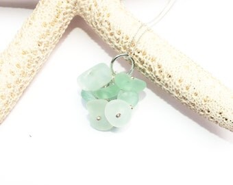 Sterling Sea Glass Cluster Necklace - Beach Glass Necklace - Lake Erie Beach Glass - FREE Shippig inside the United States