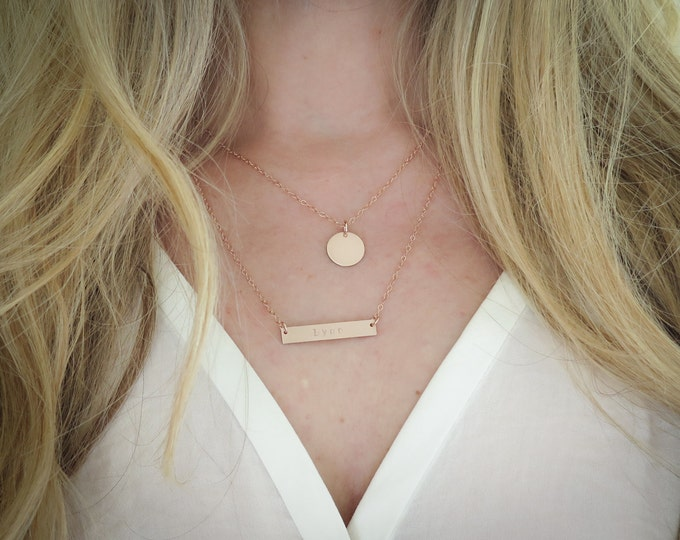 Layered Personalized Necklace Set - 14k Gold Fill Bar Necklace and Disc Layering Set - Hand Stamped Jewelry by Betsy Farmer Designs