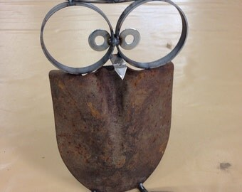 Owl Yard Art Recycled Garden Sculpture can opener