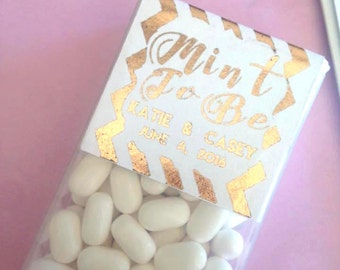 Mint To Be Tic Tac Favor Label, Custom GOLD FOIL tic tac labels for weddings, baby showers, party favors, gold, gold weddings, DIY favors