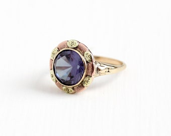 Vintage 10k Rose & Yellow Gold Art Deco Created Color Change Purple Sapphire Ring - 1930s Size 8 Phenomenal Stone  Flower Fine Jewelry