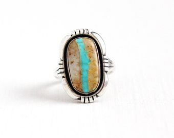 Vintage Sterling Silver Turquoise in Quartz Matrix Ring - Size 7 Retro Southwestern Lonnie Willie Navajo Native American Statement Jewelry