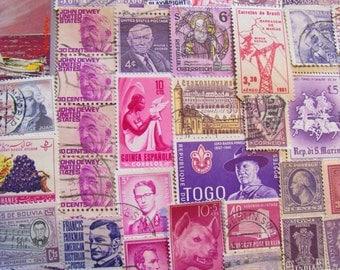 Shades of Purple 100 Vintage Postage Stamps Assorted Purples Plum Violet Magenta Lilac Lavender Fuschia Scrapbooking US Worldwide Philately