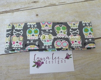READY TO SHIP Bonehead on Gray, Colorful Sugar Skulls Diaper Strap, Day of the Dead, Nappy Strap, Diaper Holder, Diaper Keeper, Diaper Bag