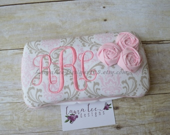Elegant Light Pink and Taupe Damask with Flowers Travel Baby Wipe Case, Personalized Wipecase, Bella Damask Wipecase, Baby Shower Gift