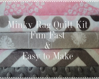 Rag Quilt Kit, Minky Fabrics in Pink and Grey,  Easy to Make, Bin  K, Sewing Available