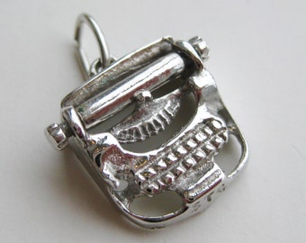 Vintage 40s 50s Sterling Silver Moving Typewriter Mechanical Bracelet Charm