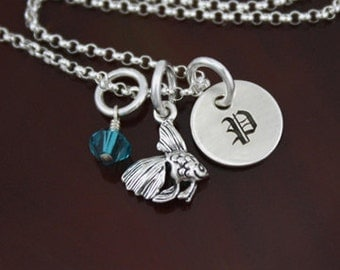 My Petite Angelfish Initial Necklace - Sterling Silver