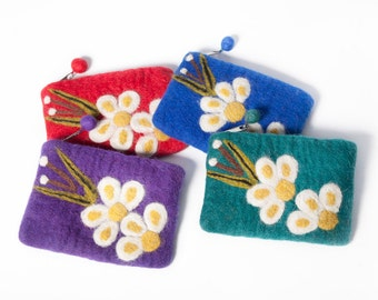 Vintage Flower Felt Coin Purse