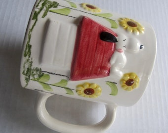 Snoopy Mug Peanuts doghouse 1958 cup Charles Schulz