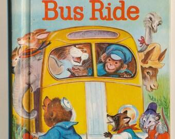 Cute Children's Book Animals Bus Ride vintage