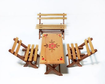 German Doll Furniture, Wooden Picnic Table and Chairs